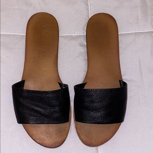 Black faux leather Aldo sandals